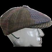 Mens Newsboy Cap Hat Vintage 1970s Irish Plaid Herringbone St. Patrick's Day