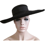 Black Wide Brim Hat Vintage 1940s Ada Saunders New York Wool Felt