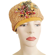 Vintage 1960s Mustard Straw Hat Velvet Millinery Berries Bow
