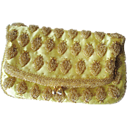 Yellow Hand Beaded Clutch Purse Vintage 1960s Hong Kong Pristine
