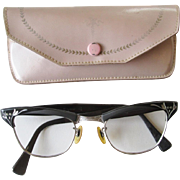 Etched Cat Eye Glasses Frames Vintage 1950s American Optical With Case