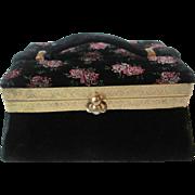 Box Purse Black Velvet Vintage 1950s Floral Flocked Womens Handbag