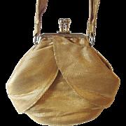 Art Deco Purse Vintage 1920s Gold Metallic Petite Dance Bag