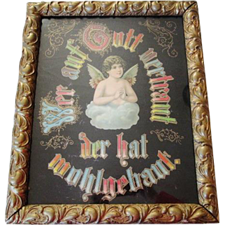 """Antique German Religious Motto Angel Framed """"Who Trusts In God A Strong Abode"""""""