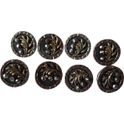 Antique Victorian Steel Cut Buttons Set of 8