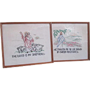 Religious Crewel Work Embroidery Vintage 1950s Framed Scripture Pictures Pair