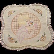 Art Deco Boudoir Pillowcase Vintage 1920s Flapper Flower Embroidery Lace