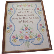 Cross Stitch Motto Sampler Vintage 1950s Embroidery Handiwork Framed Picture