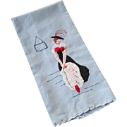 Burlesque Dancing Girl Guest Towel Vintage 1950s Pinup Cotton Applique Embroidery