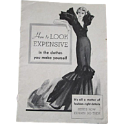 Singer Sewing Advertisement Book Vintage 1930s Art Nouveau How To Look Expensive