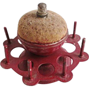 Antique Pincushion Spool Holder Sewing Red Cast Iron Thimble