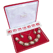Italian Silver Cameo Jewelry Seven Days Of The Week Parure Set In Box With Paperwork