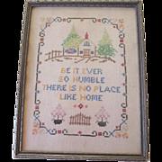 Vintage 1930s Cross Stitch Motto Sampler Framed Picture
