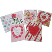 Valentine Greeting Cards Vintage 1950s Mixed Lot 6 Unused With Envelopes