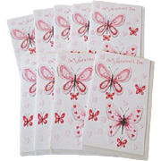 SOLD Valentines Day Greeting Cards Vintage 1950s Hearts Butterflies Unused With Envelopes