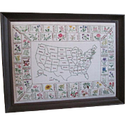 Large Crewel Work Embroidery Sampler Vintage 1950s Map of United States State Flowers