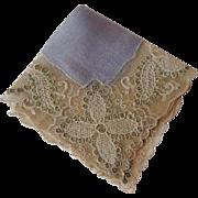 Antique Brussels Lace Silk Hankie Hanky Point de Gaze Fine Womens Accessory