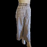 Pants Culotts Vintage 1950s Gingham Seersucker Womens