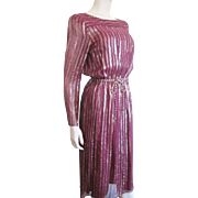 Lord And Taylor Vintage 1970s Designer Dress Burgundy Gold Metallic Rope Belt