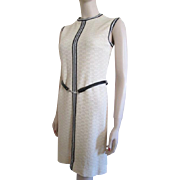 Sleeveless Knit Dress Vintage 1970s Belt R & K Knits