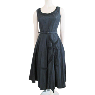Suzy Perette Vintage 1950s Black Taffeta Swing Dress Beads Rhinestones Like New!