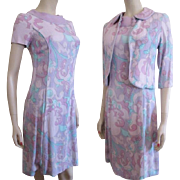 Lavender Linen Dress Bolero Jacket Vintage 1950s Womens Print Suit