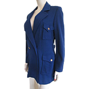 Blue Knit Long Womens Jacket Vintage 1950s Softstar Knitwear