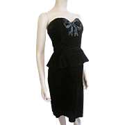 Gunne Sax Dress Vintage 1980s Strapless Black Velvet LBD Peplum