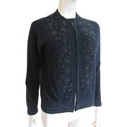 Beaded Cardigan Sweater Vintage 1960s Angora Lamb's Wool Black