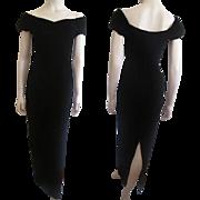 Black Velvet Bombshell Dress Vintage 1980s Off The Shoulder Evening Wear