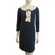 Blue Wool Secretary Dress Vintage 1970s Lace Collar Yoke Bobbie Brooks