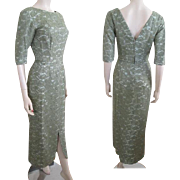 Lace Wiggle Dress Vintage 1950s Olive Green Bombshell Formal Wear Gown