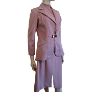 Womens Suit Vintage 1970s Rose Jacket Top Skirt Mary Tyler Moore