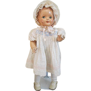 "Effanbee Baby Dainty Doll Vintage 1930s Composition Original Clothes Bonnet 15"""