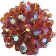 Amber Crystal Brooch Vintage 1950s Cluster Aurora Borealis Glass Beads