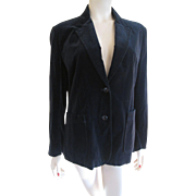 SALE Black Velvet Jacket Vintage 1970s Womens Tailored Blazer