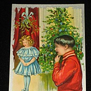 "Antique Embossed Postcard-Young Girl Under Mistletoe w/Young Boy Looking On-Xmas Tree in Background-""Merry Christmas Series 403""-Unused"