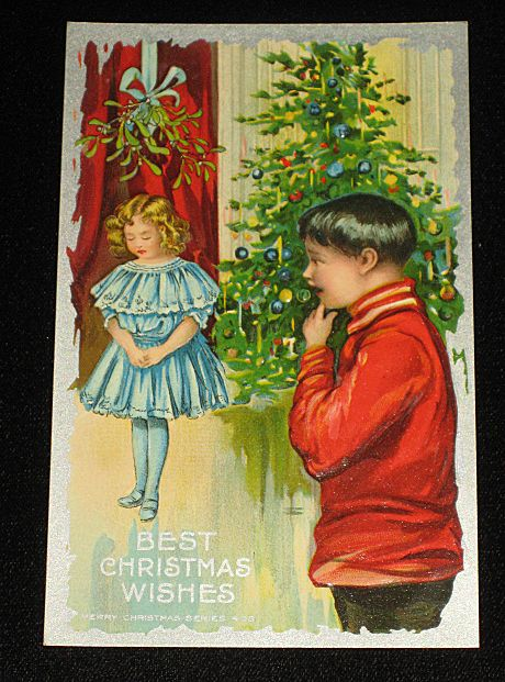 """Antique Embossed Postcard-Young Girl Under Mistletoe w/Young Boy Looking On-Xmas Tree in Background-""""Merry Christmas Series 403""""-Unused"""