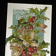 "Antique Embossed Postcard-Holly, Berries & Pink Flowers-""Merry Christmas Series 403""-Unused"