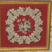 Gorgeous  1800's Antique Victorian Framed Beadwork Needlepoint Picture