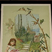 Antique Woolson Spice Advertising Easter Card with Young Girl, Cross & Tree Branch Full of Blue Birds-Knapp & Co.