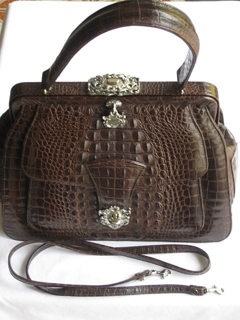 C. 80's Ann Turk Brown Leather  Embossed Alligator Look Purse with Optional Shoulder Strap