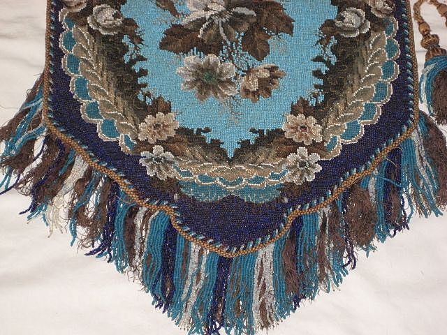 Stunning Large Antique All Beadwork Fireplace Screen Panel with Fringe-Turquoise Floral with Side Tassel