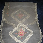 Vintage 40's Hand Embroidered Creamy White Scalloped Organdy Runner with Delicate Lace