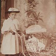 Antique Double Sided Cabinet Card-Girl with Two Dolls in Buggy & Four Young Children