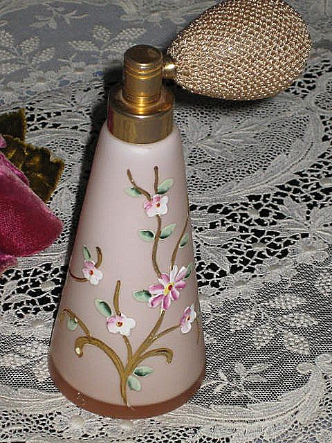 Vintage Pink Satin Glass Atomizer w/Hand Painted Enameled Flowers-2 of 2
