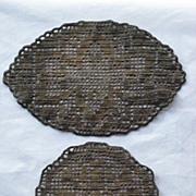 Two Antique Dark Gold Metallic Doilies