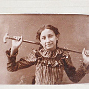 Two Small Antique Cabinet Cards of Girl with & Without Cane or Walking Stick