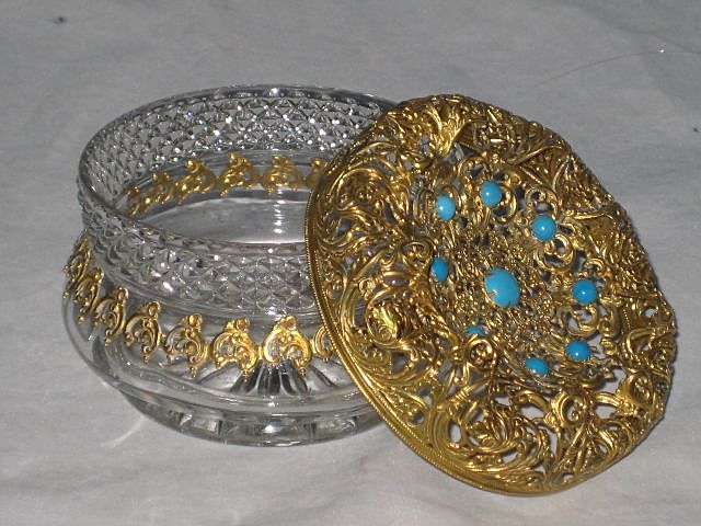 Antique Jeweled Top Glass Powder Vanity Jar with Ornate Gold Gilt Filigree-1 of 2