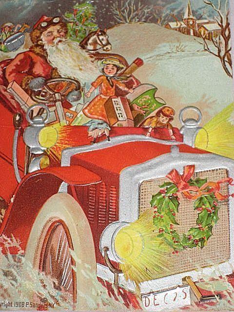 1908 Embossed Postcard of Santa Driving Car with Dolls, Toys-Unused
